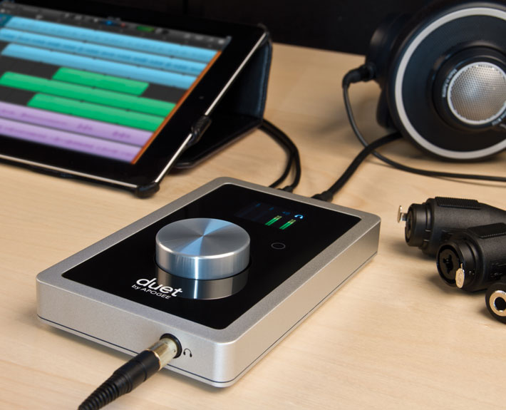 Apogee Duet for iPad and Mac with headphones